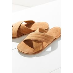 Sadie Suede Cross Strap Slide (26 CAD) ❤ liked on Polyvore featuring shoes, sandals, suede leather shoes, suede shoes, flat shoes, tan sandals and suede flat shoes