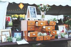 Ashley Ella Design Beautiful Vintage Wedding | Card Catalog for Wedding Guest Place Cards #gettingkramered