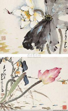 赵少昂 荷花 Lotus Painting, Japan Painting, China Painting, Japanese Drawings, Japanese Artwork, Pintura China, Lotus Art, Chinese Brush, Korean Art
