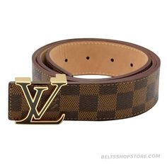Louis Vuitton Brown Damier Leather Golden Buckle Lv Initiales Be 9cf4c2043ce18