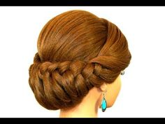 Braided Updo Hairstyle for Medium Long Hair Tutorial - YouTube