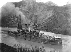 USS Ohio in the Panama Canal, 1915.