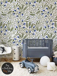 Green Composition removable wallpaper as a nice, innovative way to brighten any room. Peel&stick material works like a sticker and contains no paper. Floral print brings life to teh interior! Removable Wallpaper, Wall Wallpaper, Flower Decorations, Wallpaper, Wall Murals, Mural Wallpaper, Blue Flowers Decor, Vintage Flowers Wallpaper, Wall Coverings