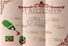 San Cristóbal y Nieves infografías, datos estadísticos, de las vistas. Ilustración vectorial