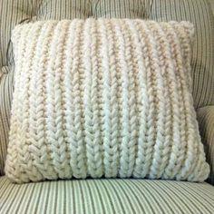Fisherman Ribbed Pillow | AllFreeKnitting.com