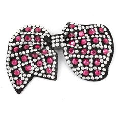 Plastic Crystal Decor Women Alligator Hair Clip Fuchsia White Black >>> Find out more about the great product at the image link.
