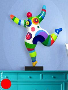 objet unique : 49cm sculpture Nana multicolore