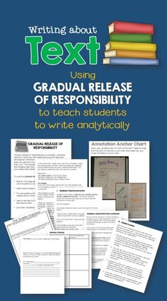 This product models a gradual of release process that teaches student to write analytically about text.