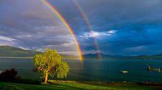 Double rainbow on Lake Pend Orielle
