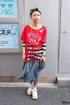 Harajuku street fashion   Beaded fringe crop top, cute short blue-tinted hair & ribbon-decorated Tokyo Bopper platforms in Harajuku.    Been seeing more fringe crop tops in Harajuku recently. None of them worn in the near-naked 1980s metal way, though. :-)