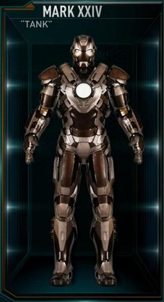 "The Mark 24 (Mark XXIV), also known by its name as ""Tank"", is a Heavy Combat Suit, and was one of several new Iron Man Armors created by Tony Stark. Marvel Dc Comics, Marvel Heroes, Marvel Avengers, Iron Men, All Iron Man Suits, Superman, Batman, Iron Man Movie, Iron Man Armor"