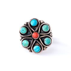 Vintage Zuni Turquoise Coral Sterling Silver Flower Cluster Ring, Size 5.25 Unsigned by OldSoulDecorMarket on Etsy