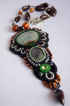 Bead embroidery necklace with jasper by GitanaDesign on Etsy, £85.00