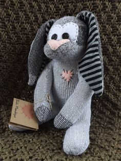 Kendall is a hand stitched sock bunny. Approximately 9
