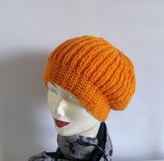 Orange Hand Knit Chunky Slouchy Women Hat Beanie by recyclingroom, $25.00
