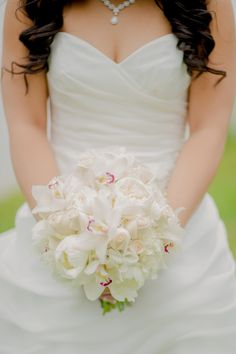 White Orchid and Rose Bridal Bouquet-this Is number 2 it has just the touch of  color in the Orchids.