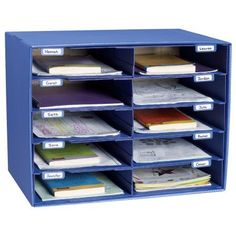 Classroom Keepers Mail Box and Literature Organizer, 10 Slot Sorter, Blue