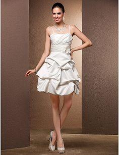 Ball Gown Sweetheart Satin Short/Mini Wedding Dress