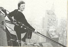 1974 New York City: Philippe Petit a top the World Trade Center