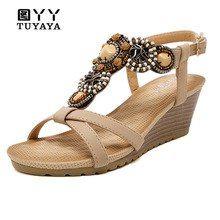 4006bdc12af7d3 Summer Platform Sandals for Women 2019 Comfortable Ethnic Women Wedge Sandals  Flip Flops Shoes Woman Sandals