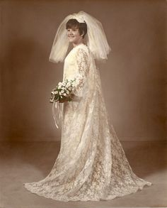 Vintage Custom Made 60s Shift Style Wedding Dress, Veil & Train from 1968.