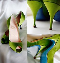 9d3c23ad981e Christian Louboutin blue sole Wedding bridal Shoes (love the green satin w   the blue