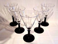 Crystal Black Amethyst Stemmed Wine Glasses Vintage Black Amethyst, Crystal Glassware, Martini, Bottles, Wine, Mugs, Crystals, Glasses, Elegant