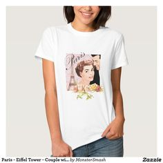 Paris - Eiffel Tower - Couple with roses T-Shirt