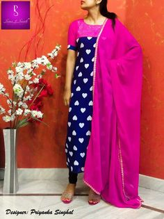 ● Product Code PS 51 ●Blue georgette long tunic with heart prints and sequenced yoke along with pink georgette dupatta. * No Leggings available