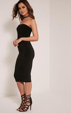 Kia Black Bandeau Slinky Midi Dress Image 4