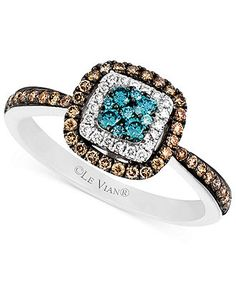 Le Vian 14k White Gold Blue and White Diamond and Diamond Accent Ring (3/8 ct. t.w.) - Le Vian - Jewelry & Watches - Macy's