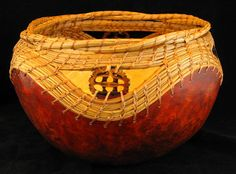 Forest Basket Woven Pine Needle and Gourd Bowl by GourdsInCostume, $80.00