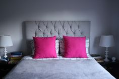 Gray, Black, White. Lets you add ANY color for an accent. Like... hot pink! Create / Enjoy: New hot pink bed pillows, and a styling dilemma