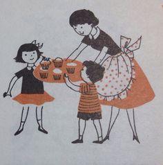 Cupcakes vintage cookbook illustration