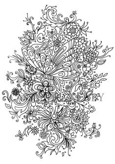 Digital Download Print Your Own Colouring Page For Original Art Work Design-Use As Poster-By Cassandra Newby