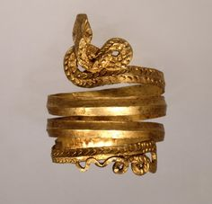 ‡ Spiral gold snake ring, Greece, ca 2nd century BC