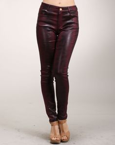 Cheryl says: If you haven't already fallen in love with the burgundy trend, then you certainly will with these wine colored pants. The pants have a skinny fit with a nice airbrush pattern with a glossy finish. The pants are made of cotton with some spandex for added stretch. Skinny Pants, Skinny Fit, Colored Pants, Airbrush, Cheryl, Muse, Leather Pants, Burgundy, Spandex