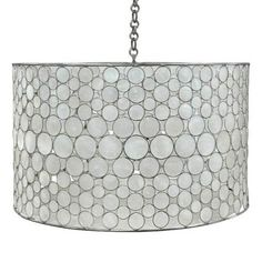 Includes Canopy & 3-Foot Chain Material: Metal Frame w/Capiz Shell Circles Hardware Finish Options: Brass (Shown), Silver Metal Finish Options: Stainless (Shown), Natural Brass
