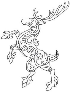 Stag for my celtic zodiac tattoo (IDEA) Celtic Patterns, Celtic Designs, Hirsch Tattoo, Doodles Zentangles, Celtic Art, Coloring Book Pages, Xmas Cards, Yule, Leather Craft