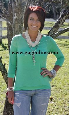 Giddy Up Glamour www.gugonline.com $24.95 Diamond and Pearls Lime Sherbet Top