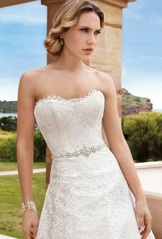 Chantilly lace, strapless, A-line, cocktail length dress with jeweled trim on waist and a scalloped neckline and hem. Wedding Dresses Photos, Wedding Dress Styles, Designer Wedding Dresses, Bridal Gowns, Wedding Gowns, Wedding Gown Gallery, Cocktail Length Dress, Ethereal Wedding, Chantilly Lace