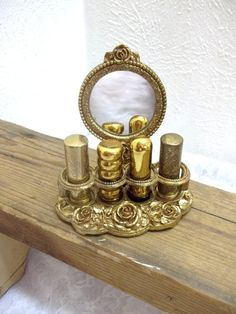 Vintage Makeup Vintage Ormolu Lipstick Holder Stand Detachable Mirror And Lipstick Tubes Vanity Set Dresser Set DD 413 - Lipstick Tube, Lipstick Holder, Makeup Lipstick, Lipsticks, Vintage Makeup, Vintage Vanity, Vintage Beauty, Vintage Love, Retro Vintage