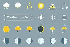 Big weather forecast icons pack by painterr on @creativework247