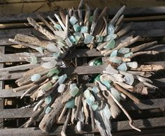 Beautiful! Driftwood and sea glass wreaths from Gull Cottage Crafts.