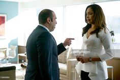 SUITS -- 'Self Defense' Episode 514 -- Pictured: (l-r) Rick Hoffman as Louis Litt, Gina Torres as Jessica Pearson --
