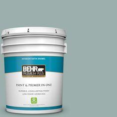 BEHR Premium Plus 5-gal. #490F-4 Gray Morning Zero VOC Satin Enamel Interior Paint