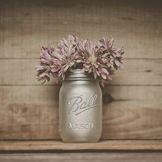 Translucent pearl shimmer Painted mason jar. Wedding guestbook pen jar, table decor, home decor.  Perfect makeup brush holder.    StyleJarsandCans. $10.00