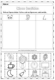 Simples Caixa De Ideias: Atividades Sobre Os Cinco Five Senses Worksheet, Five Senses Preschool, Teaching French, Kindergarten Worksheets, Professor, Literacy, Children, Kids, Homeschool