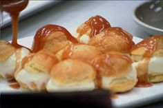 Profiteroles with Ice Cream and Caramel Sauce