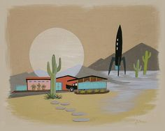 Mid Century Modern Eames Retro Limited Edition Print from Original Painting Desert Architecture